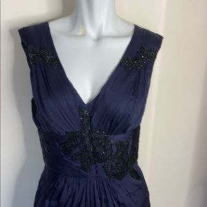 Alberta Ferretti Navy blue with black beaded gown
